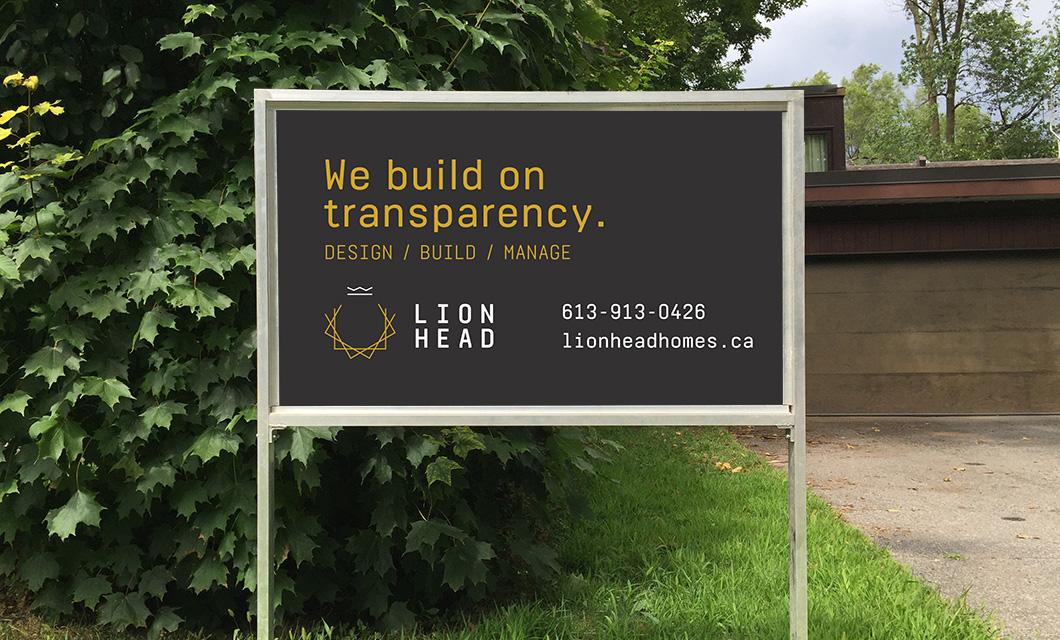 Lionhead lawn signage design by Ottawa graphic designer idApostle