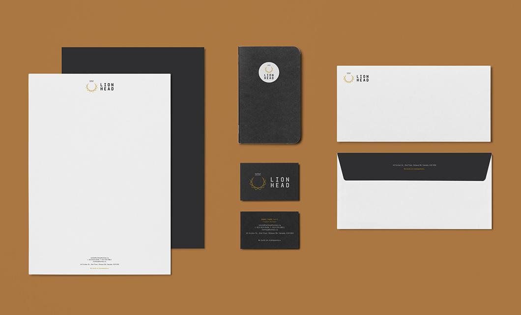 Lionhead stationery design by Ottawa graphic designer idApostle