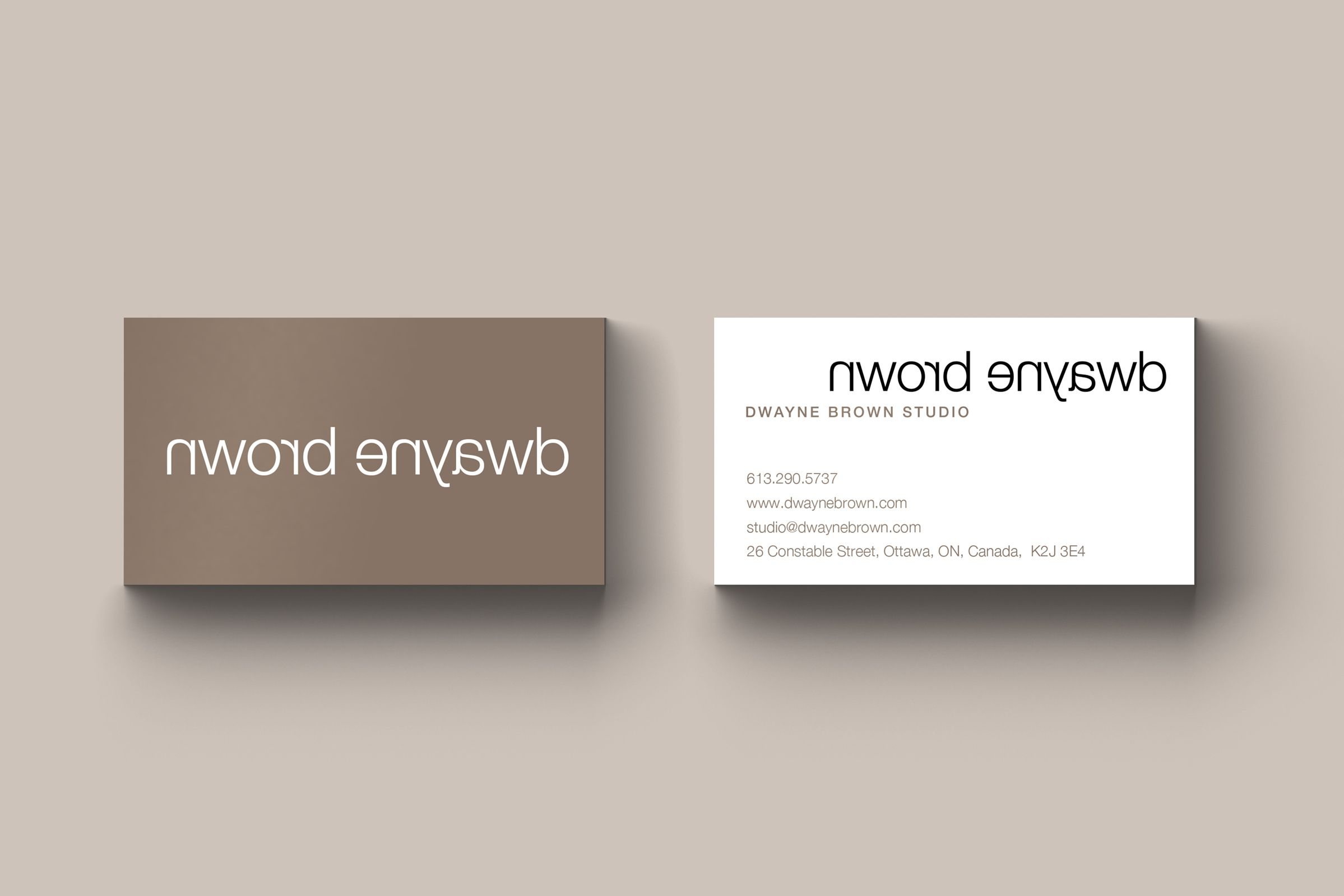 Business Card for Dwayne Brown Studios, an Ottawa photographer by Graphic Design Studio idApostle