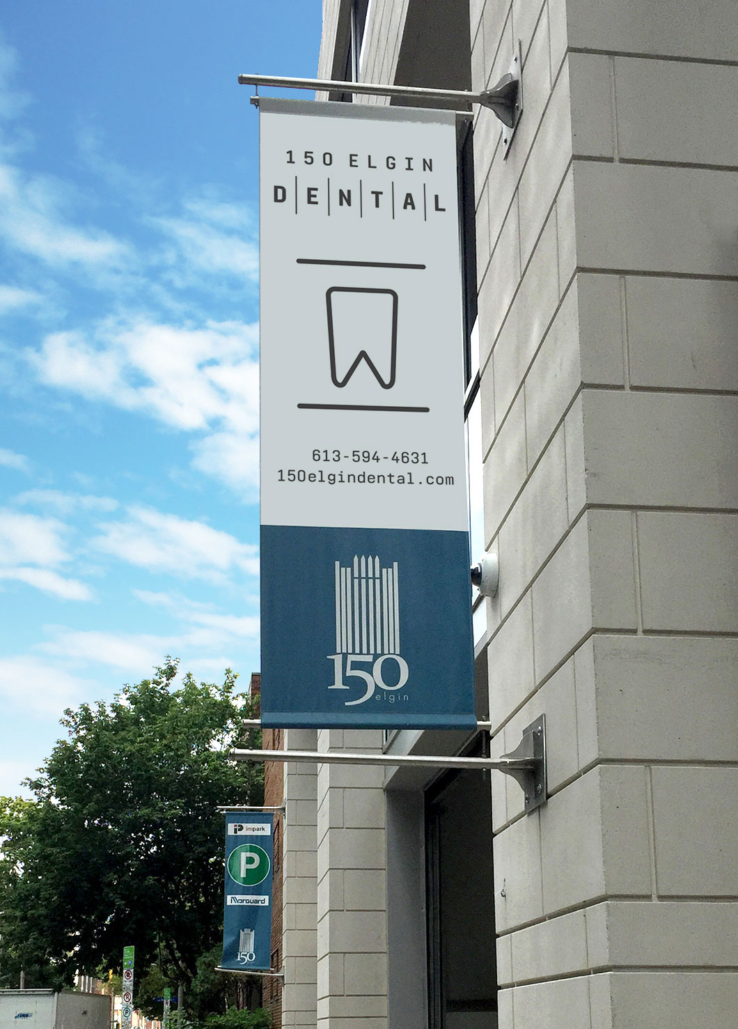 Signage for 150 Elgin Dental, an Ottawa dentist by Graphic Design Studio idApostle