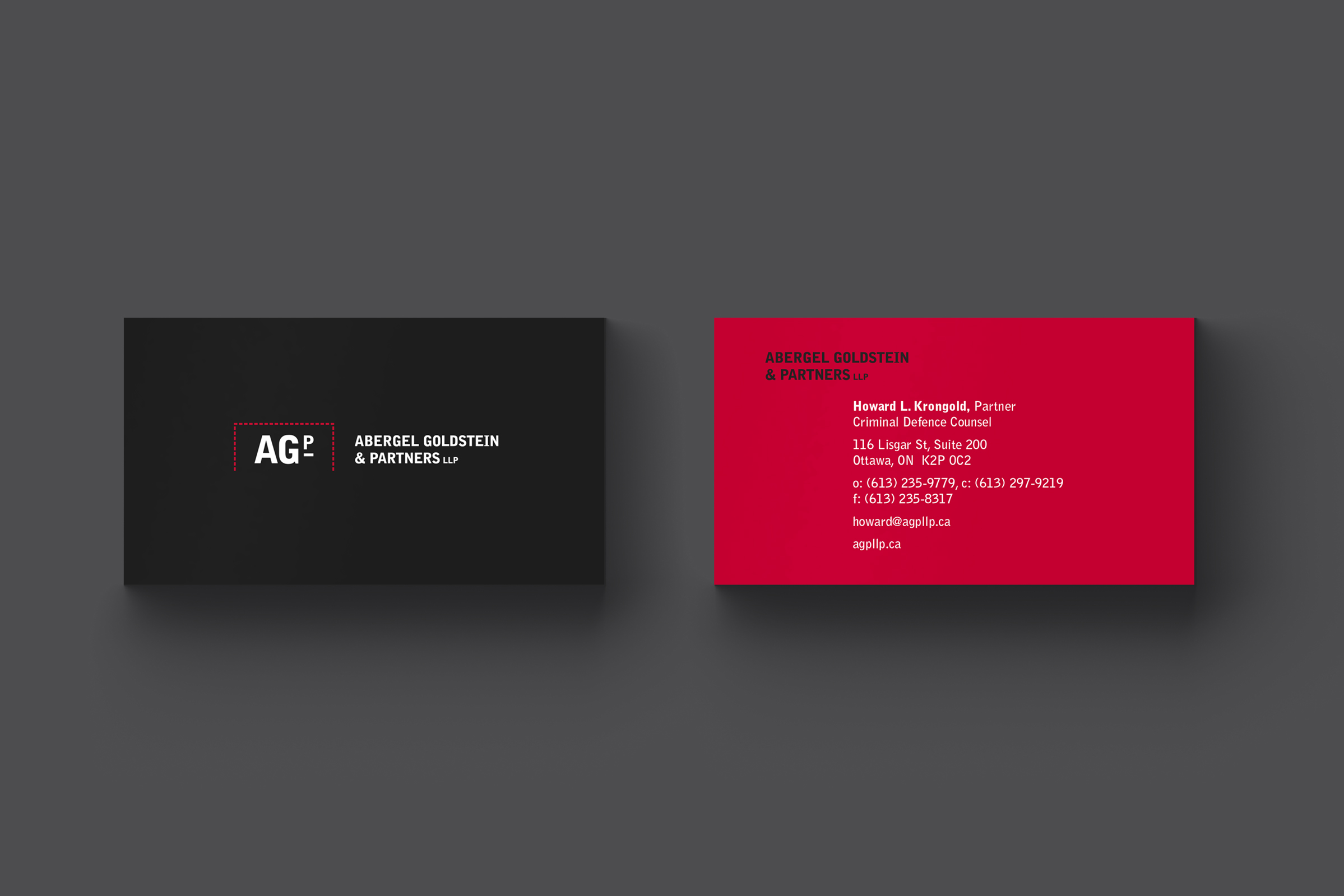 Business Card for Abergel Goldstein & Partners, an Ottawa law firm, by Graphic Designer idApostle