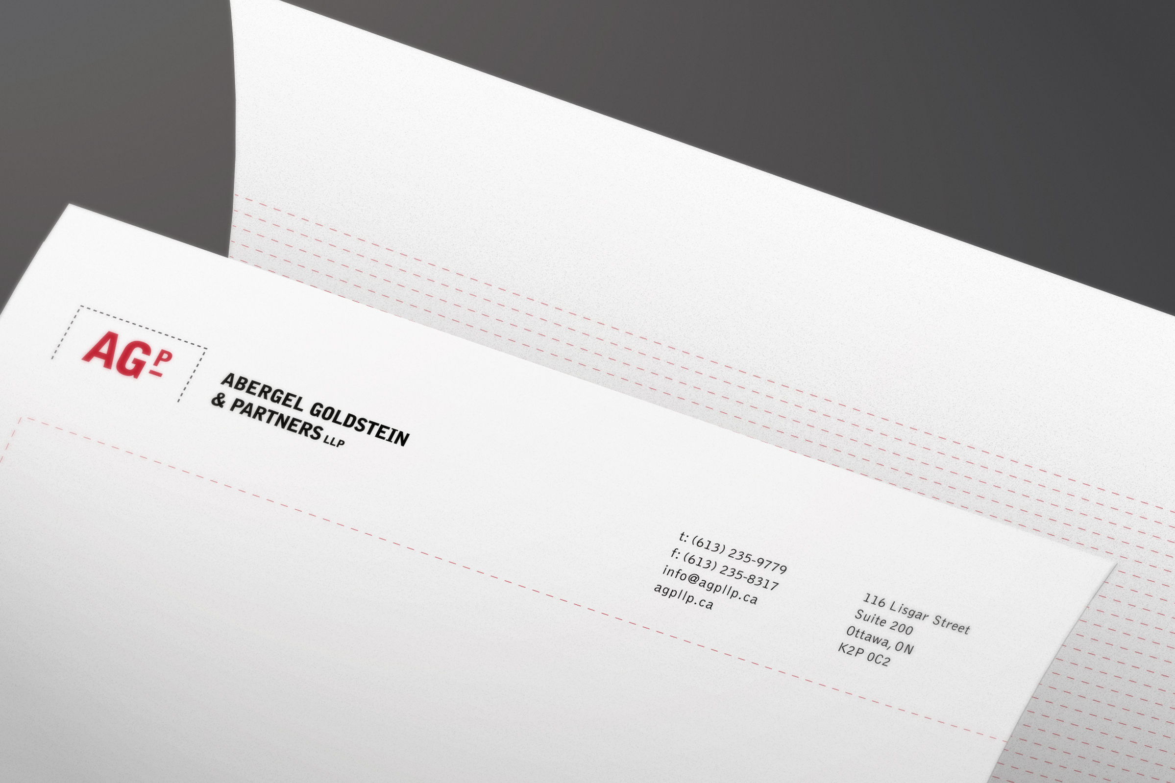 Letterhead for Abergel Goldstein & Partners, an Ottawa law firm, by Graphic Designer idApostle
