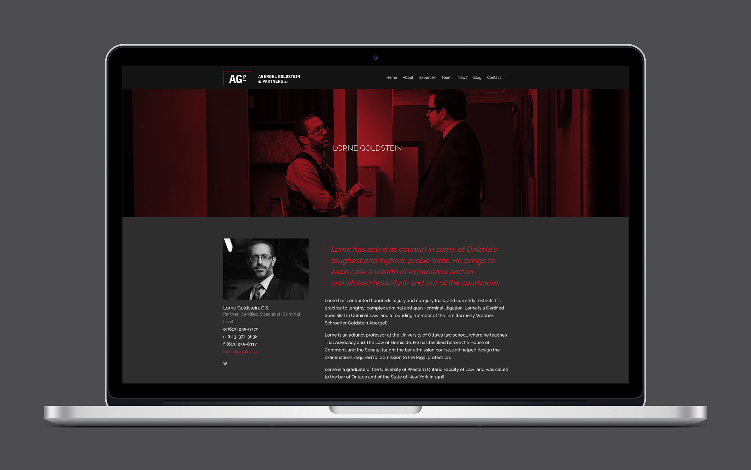 Website for Abergel Goldstein & Partners, an Ottawa law firm, by Graphic Designer idApostle
