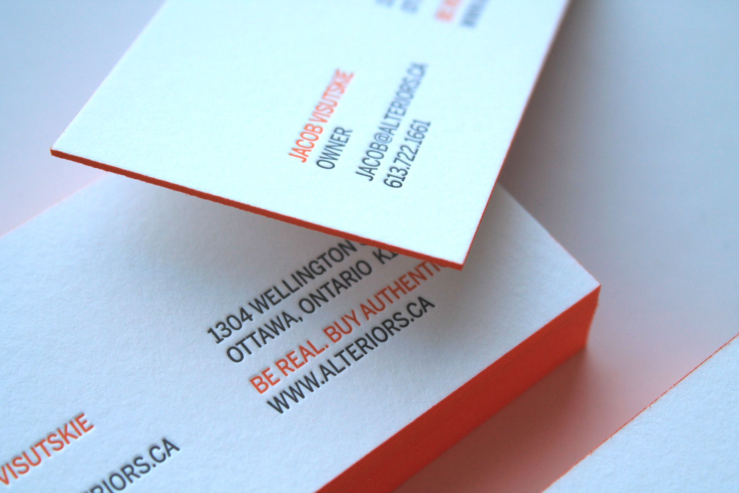 Letterpressed Business Card for Alteriors, an Ottawa  retail furniture store, by Graphic Designer idApostle