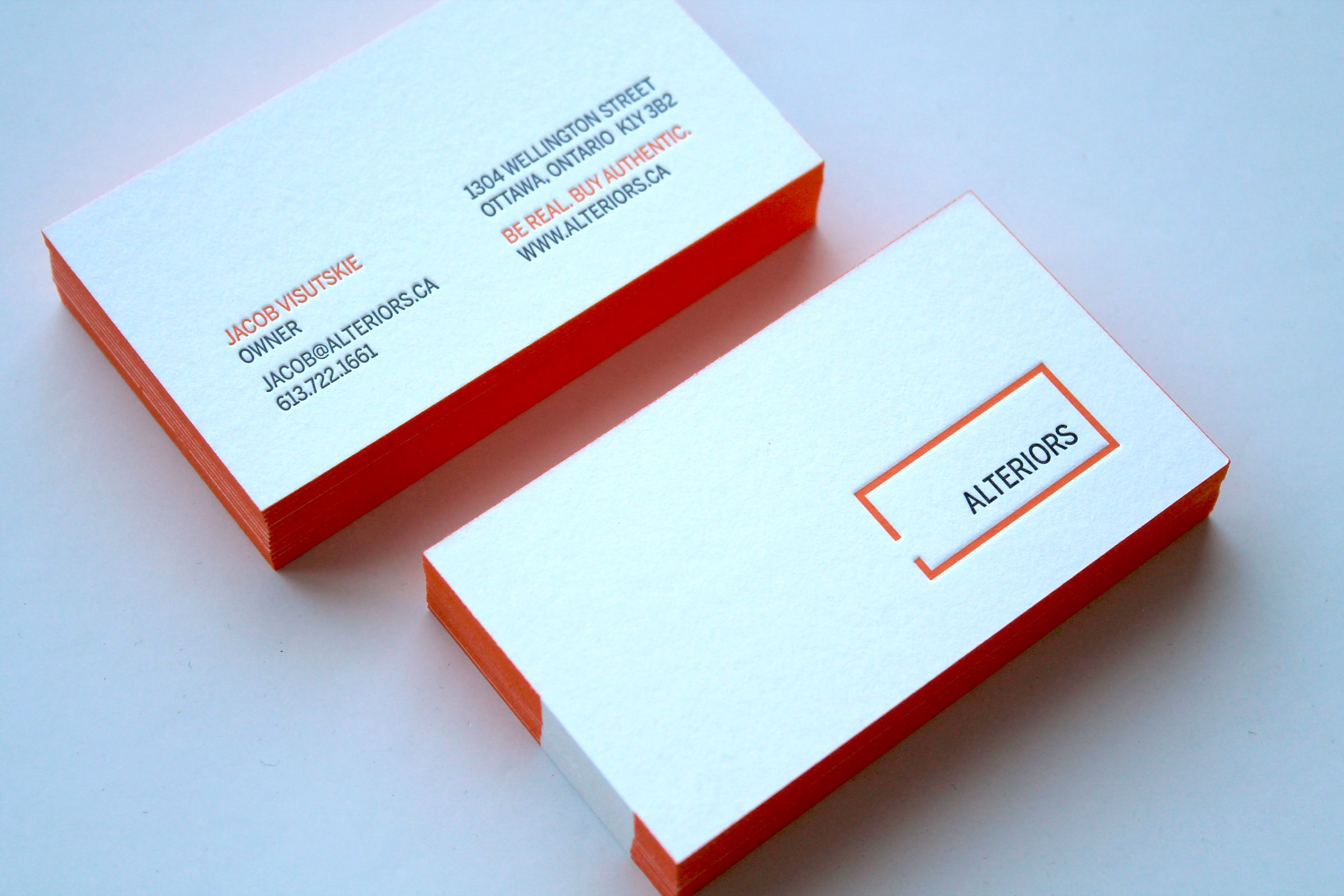 Letterpress Business Card for Alteriors, an Ottawa retail furniture store, by Graphic Designer idApostle