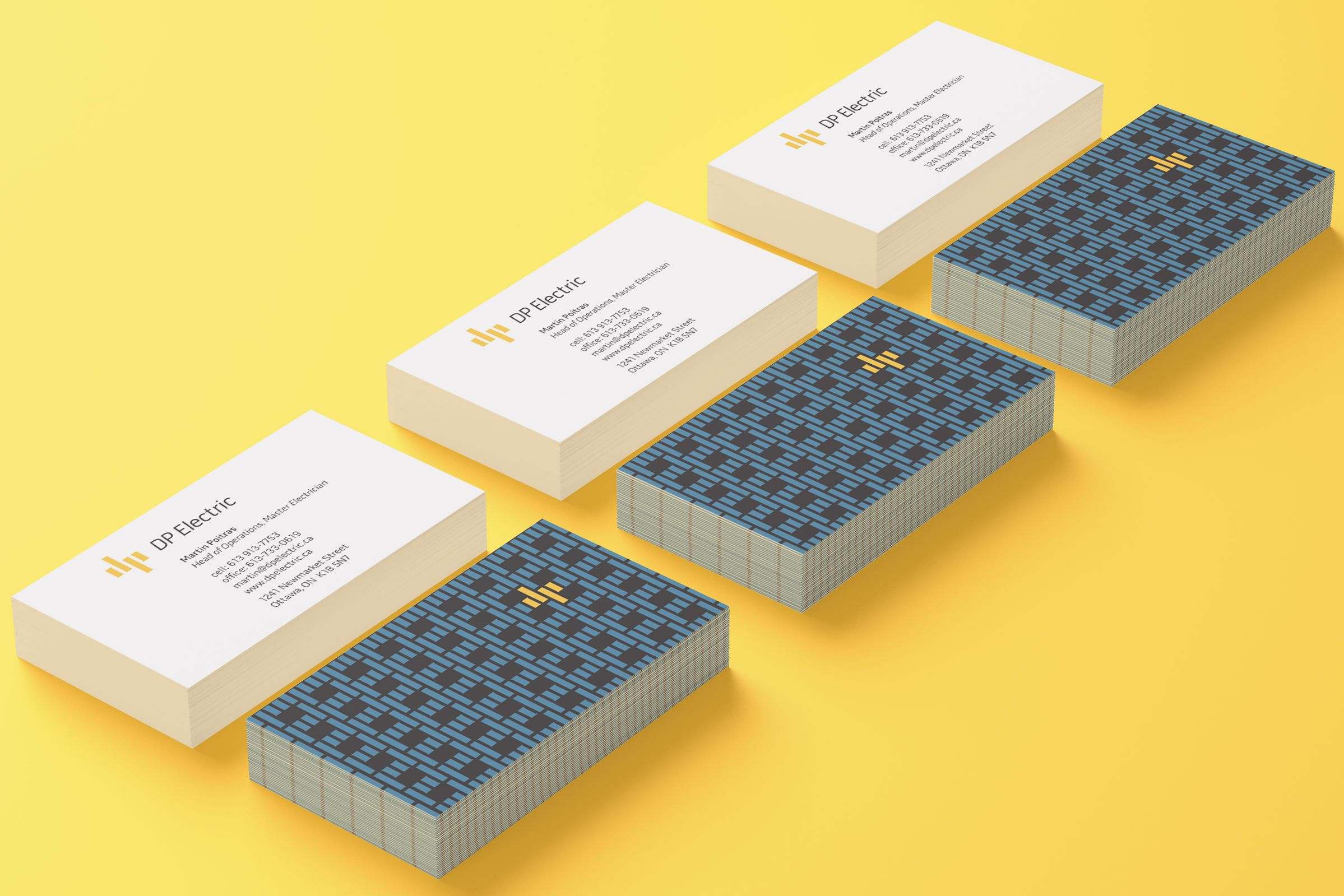 Business Cards for DP Electric, an electrical company by Ottawa Graphic Designer idApostle