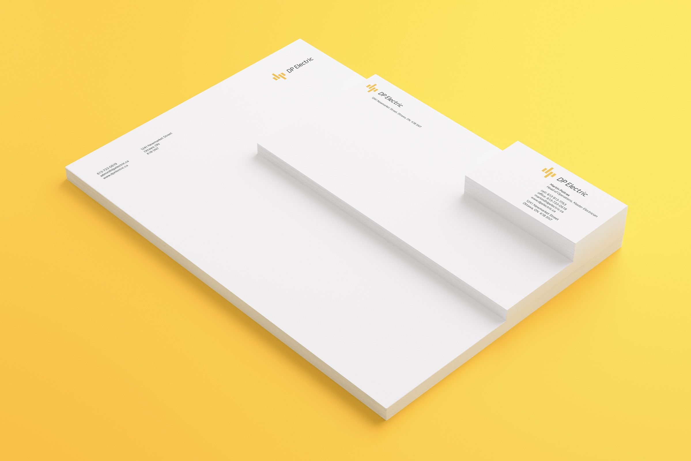 Stationery for DP Electric, an electrical company by Ottawa Graphic Designer idApostle