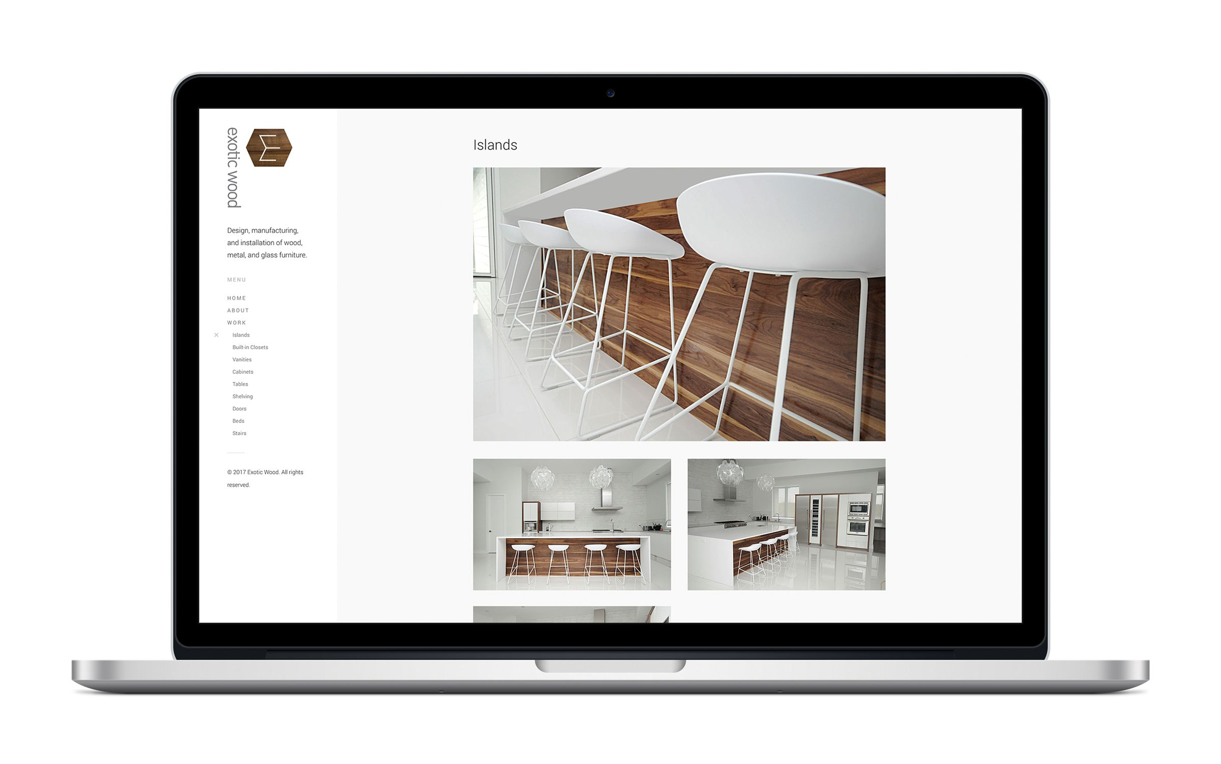 Website for Exotic Wood, an Ottawa furniture manufacturer, by Graphic Design Studio idApostle