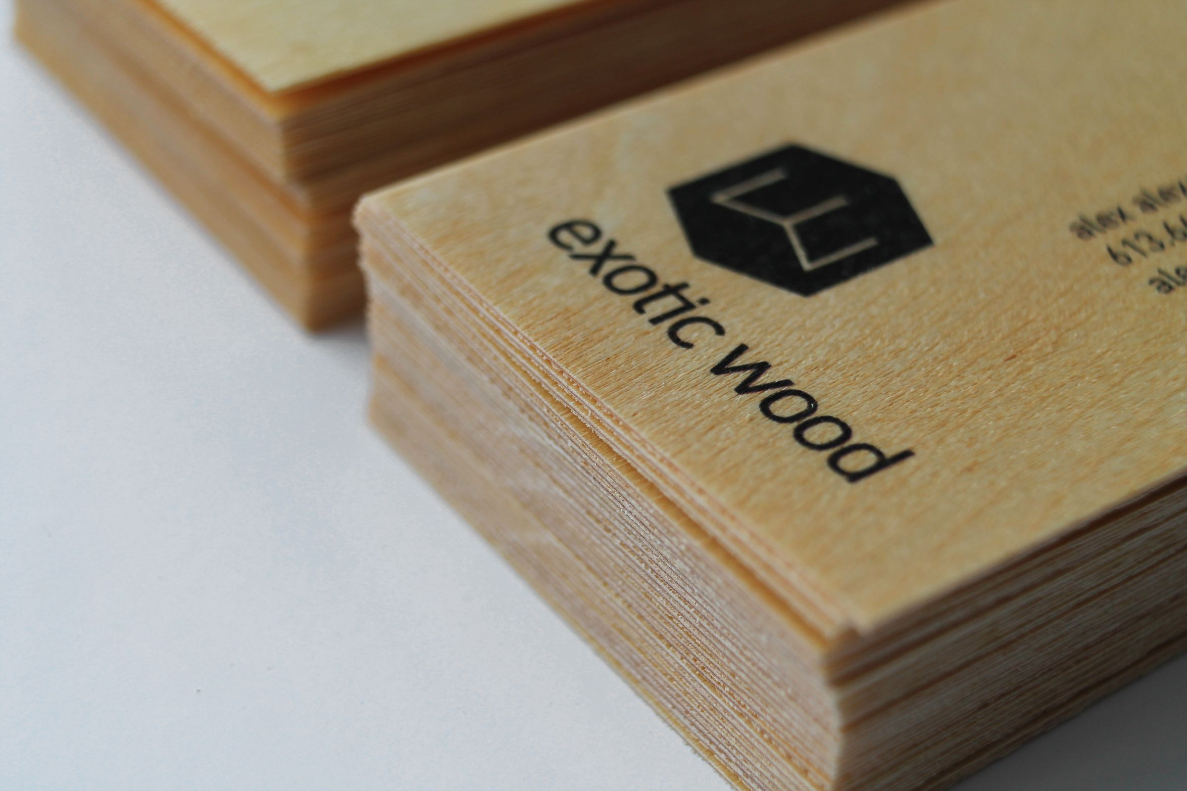 Wooden business cards for Exotic Wood, an Ottawa furniture manufacturer, by Graphic Design Studio idApostle