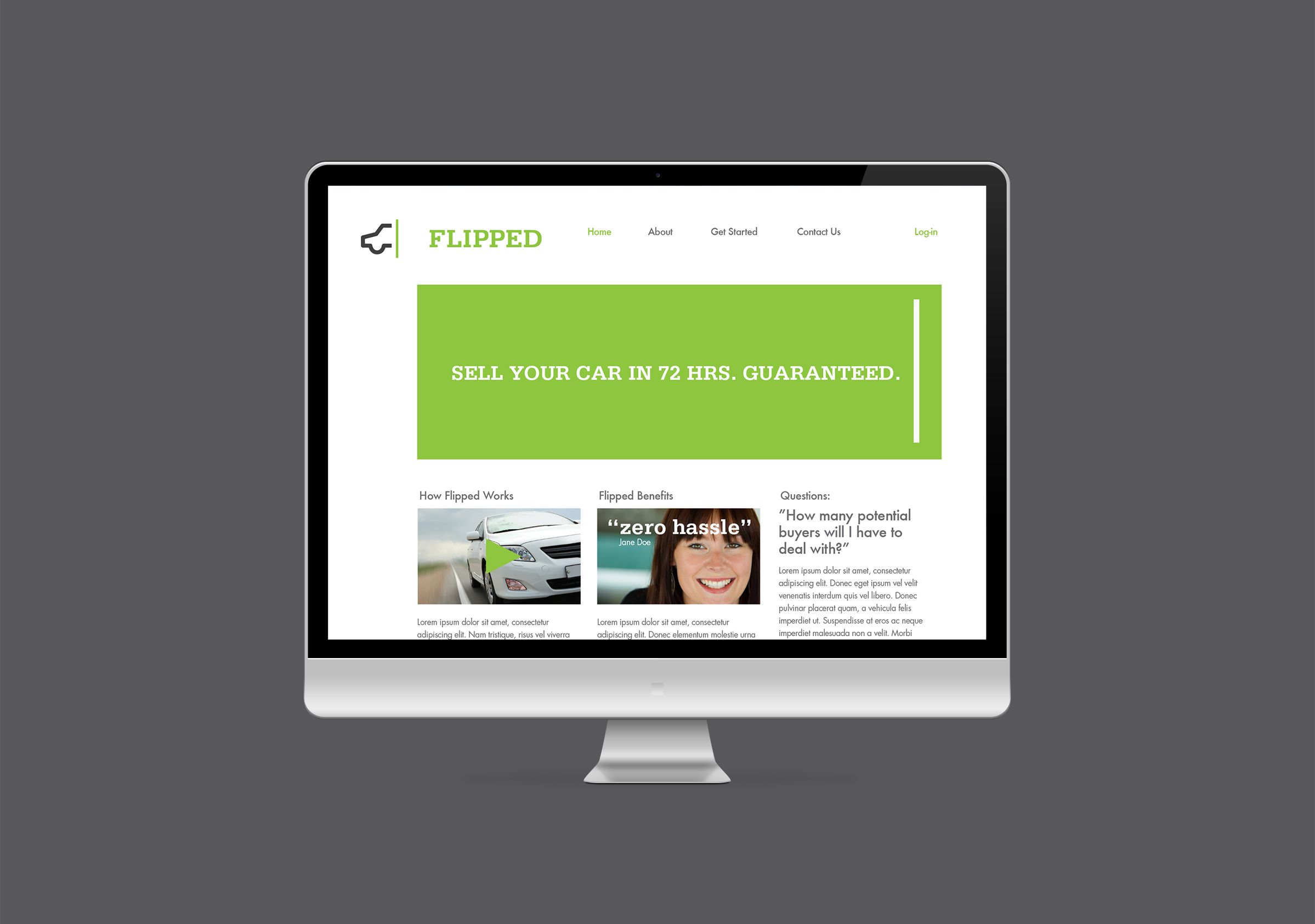 Website for Flipped, an automobile sales company by Ottawa Graphic Designer idApostle
