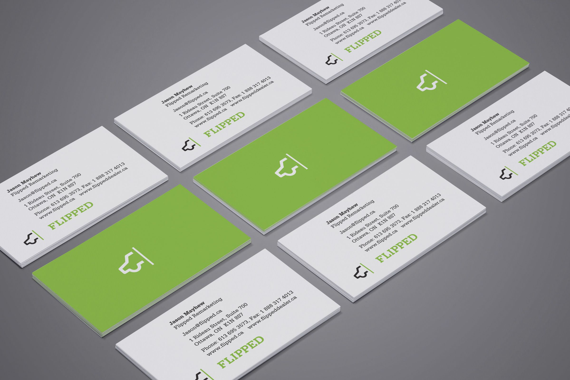 Business Cards for Flipped, an automobile sales company by Ottawa Graphic Designer idApostle