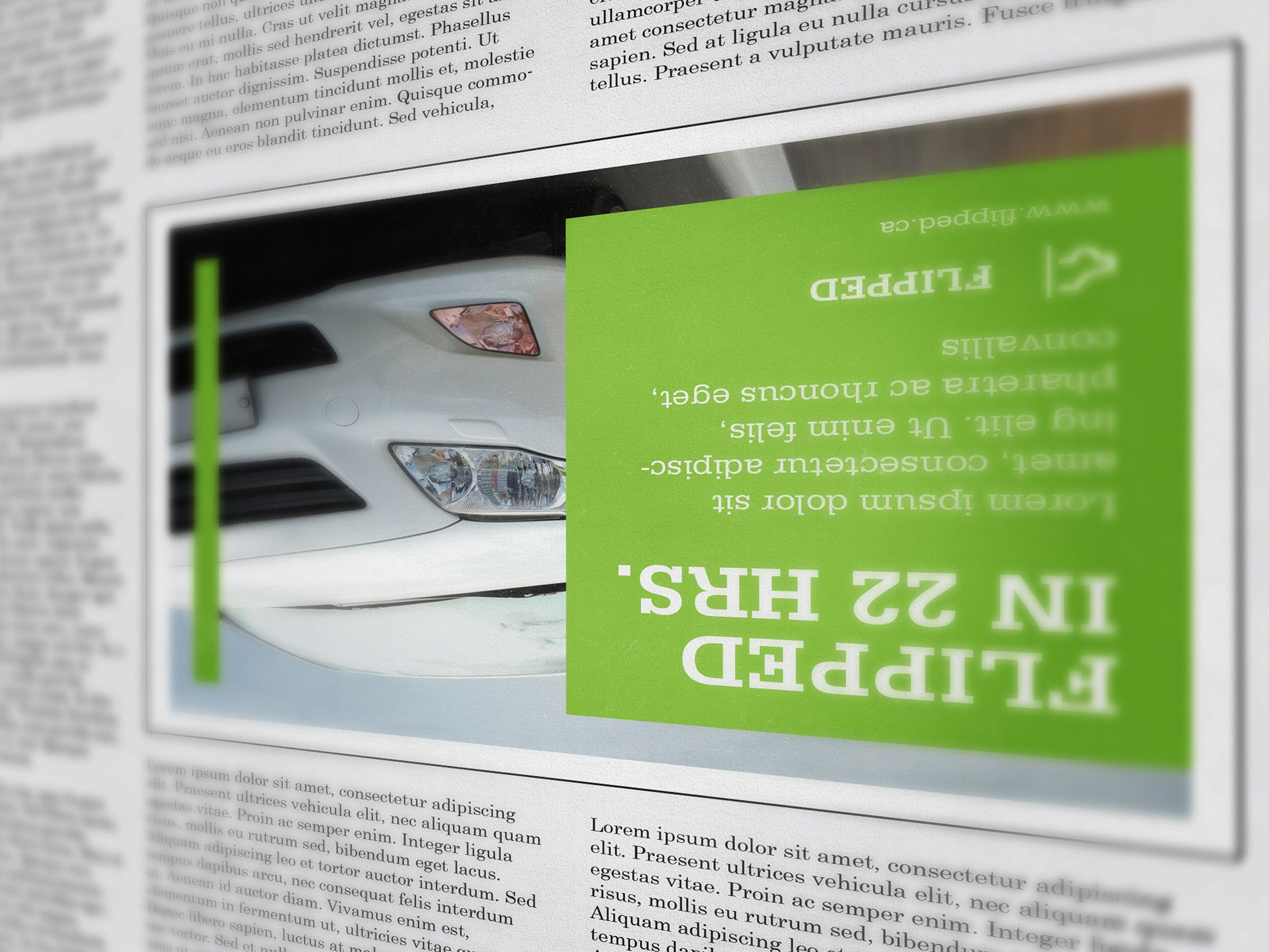 Print Advertisement for Flipped, an automobile sales company by Ottawa Graphic Designer idApostle