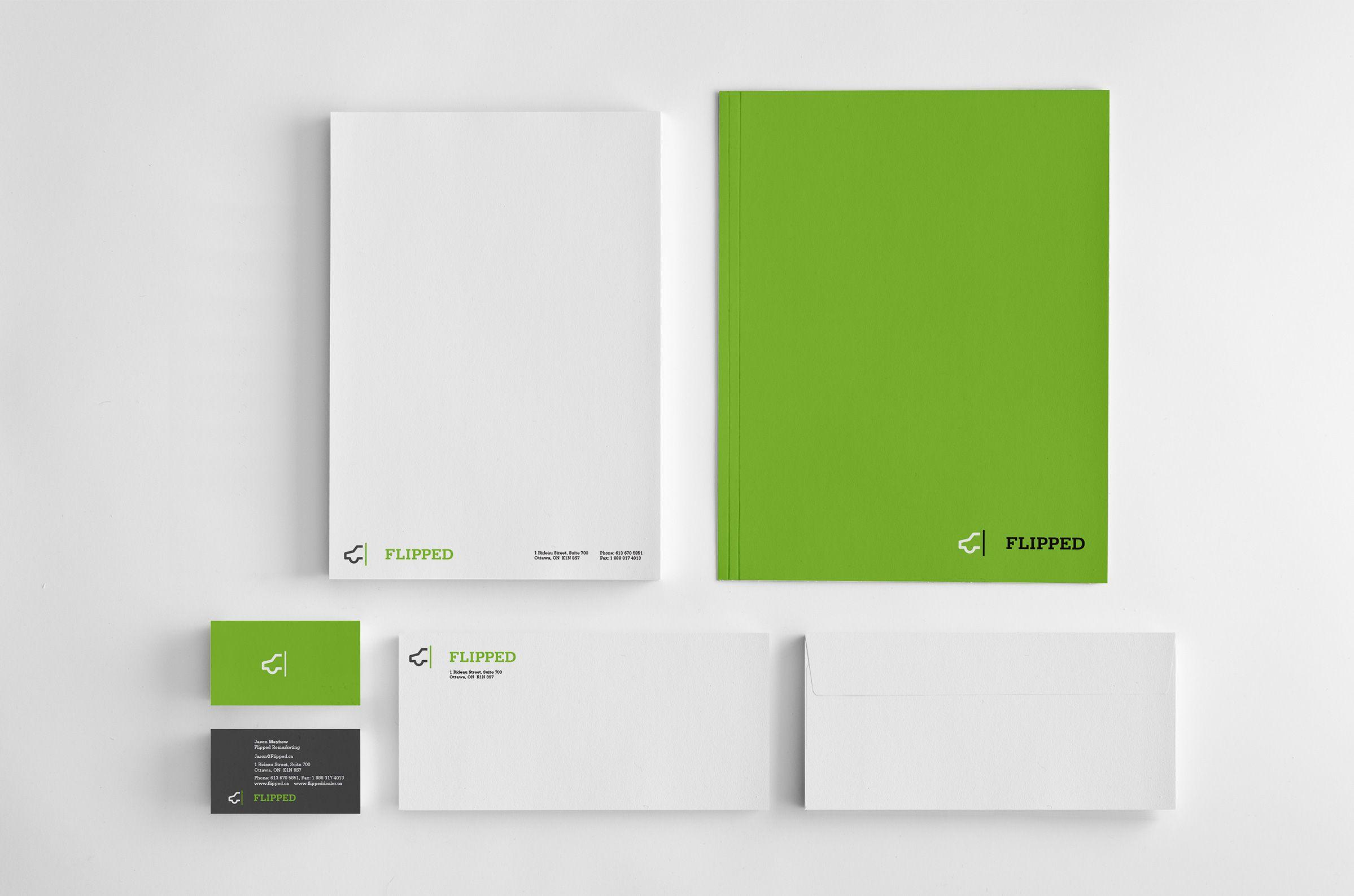 Stationery for Flipped, an automobile sales company by Ottawa Graphic Designer idApostle
