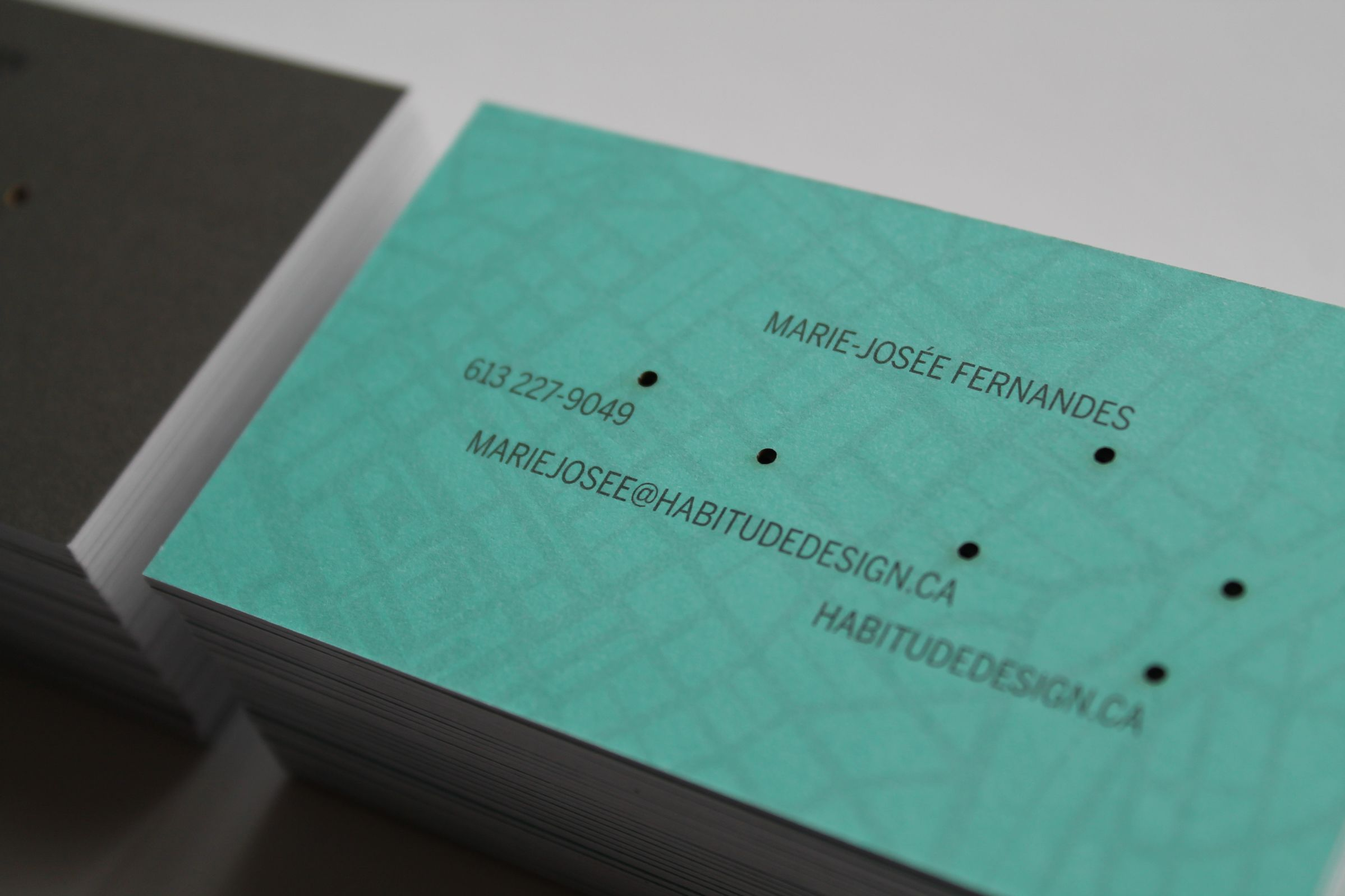 Laser Cut Business Card Detail for Habitude, a Québec lifestyle and product company by Ottawa Graphic Designer idApostle
