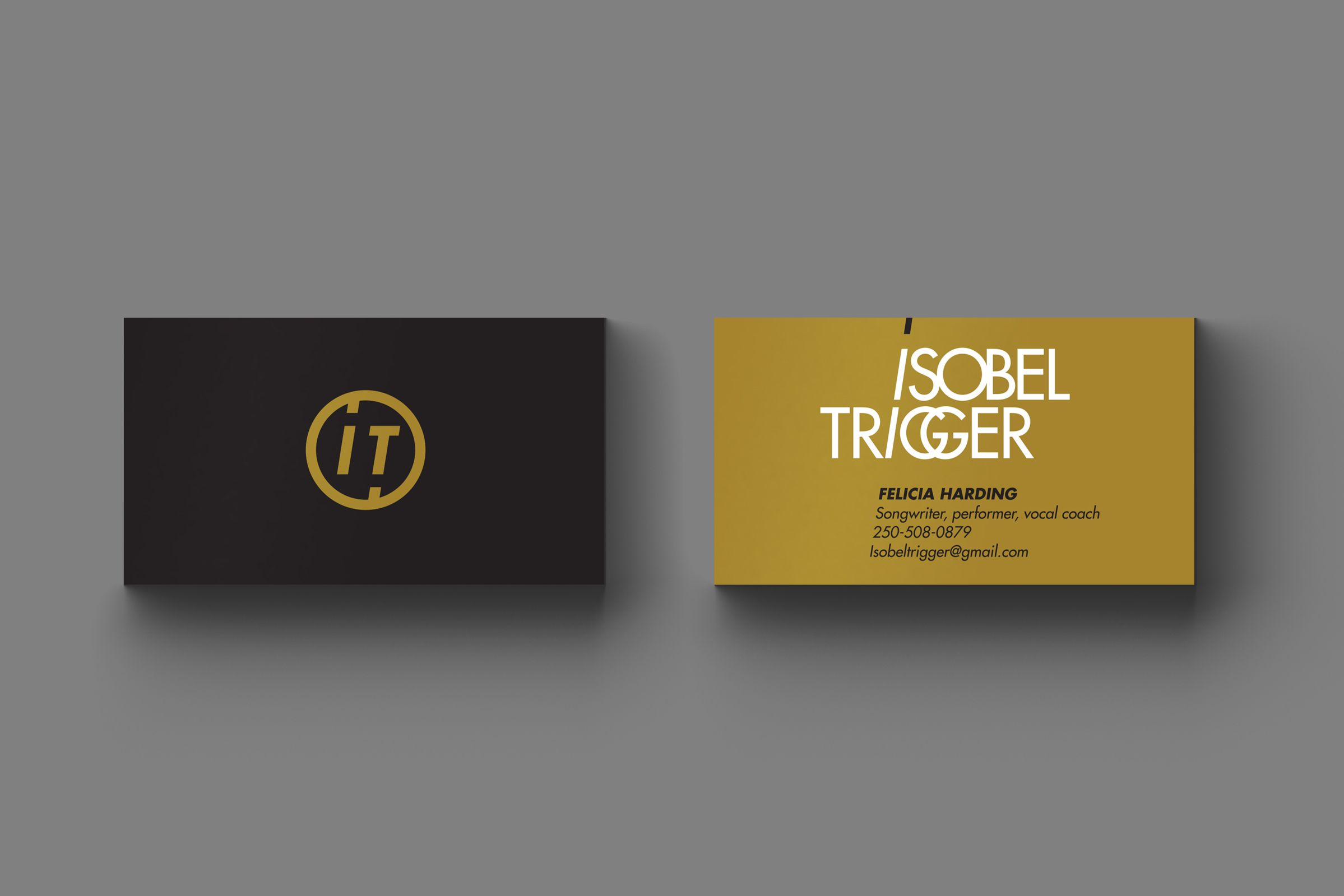 Business Cards for Isobel Trigger, a Canadian Rock Band by Ottawa Graphic Designer idApostle