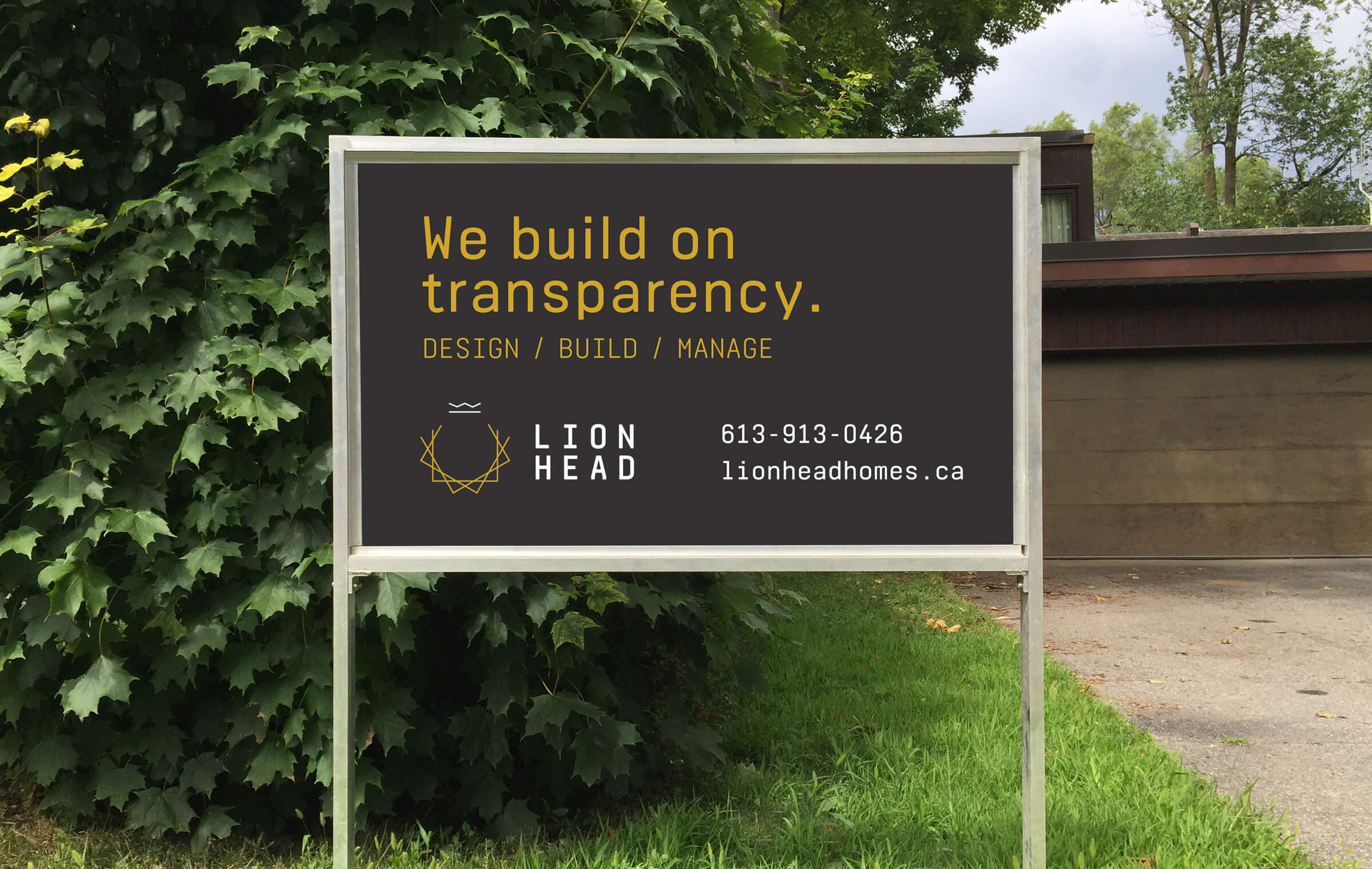 Signage for Lionhead, an Ottawa building firm by Graphic Design Studio idApostle