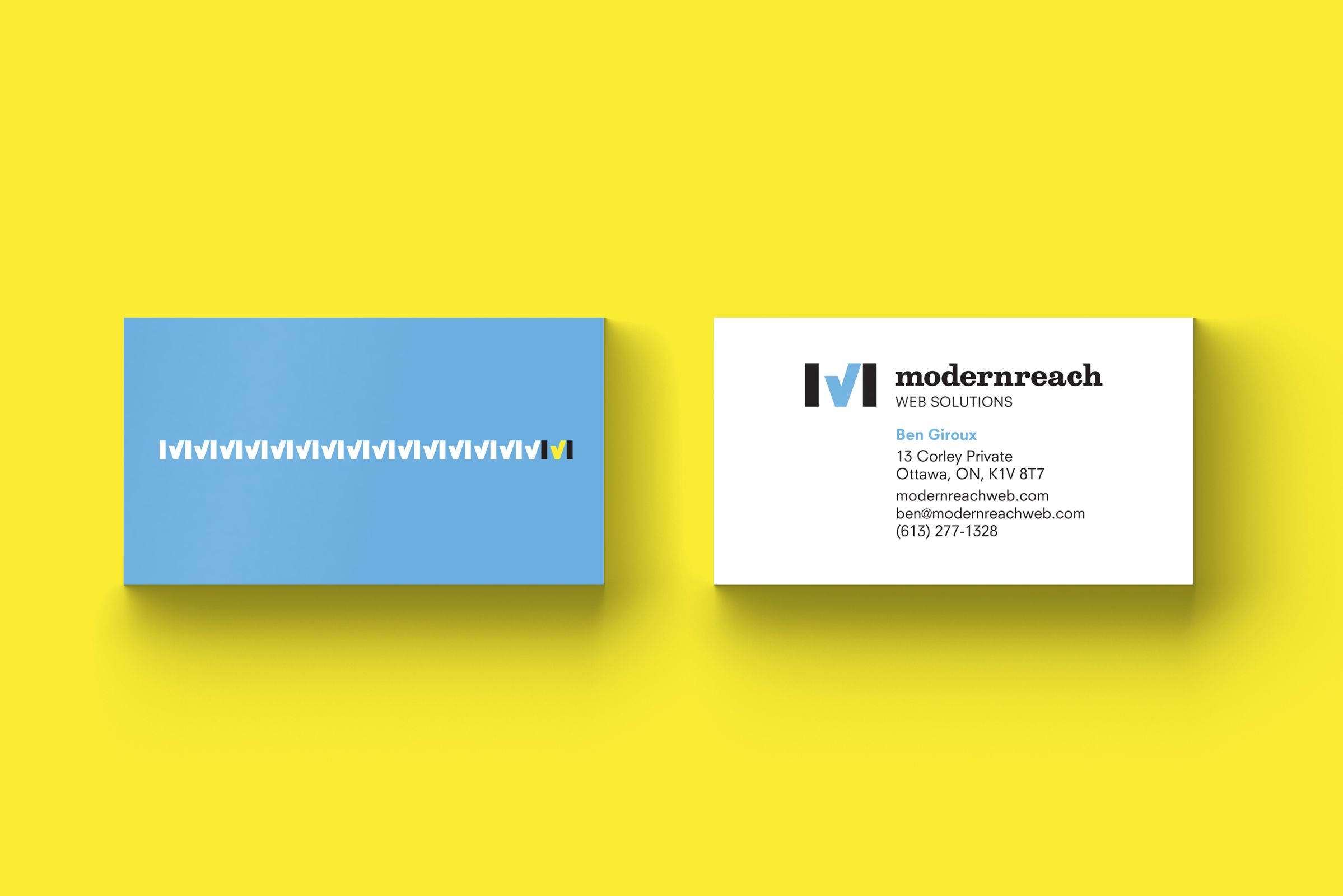 Modernreach Business Card for web company by Ottawa Graphic Designer idApostle