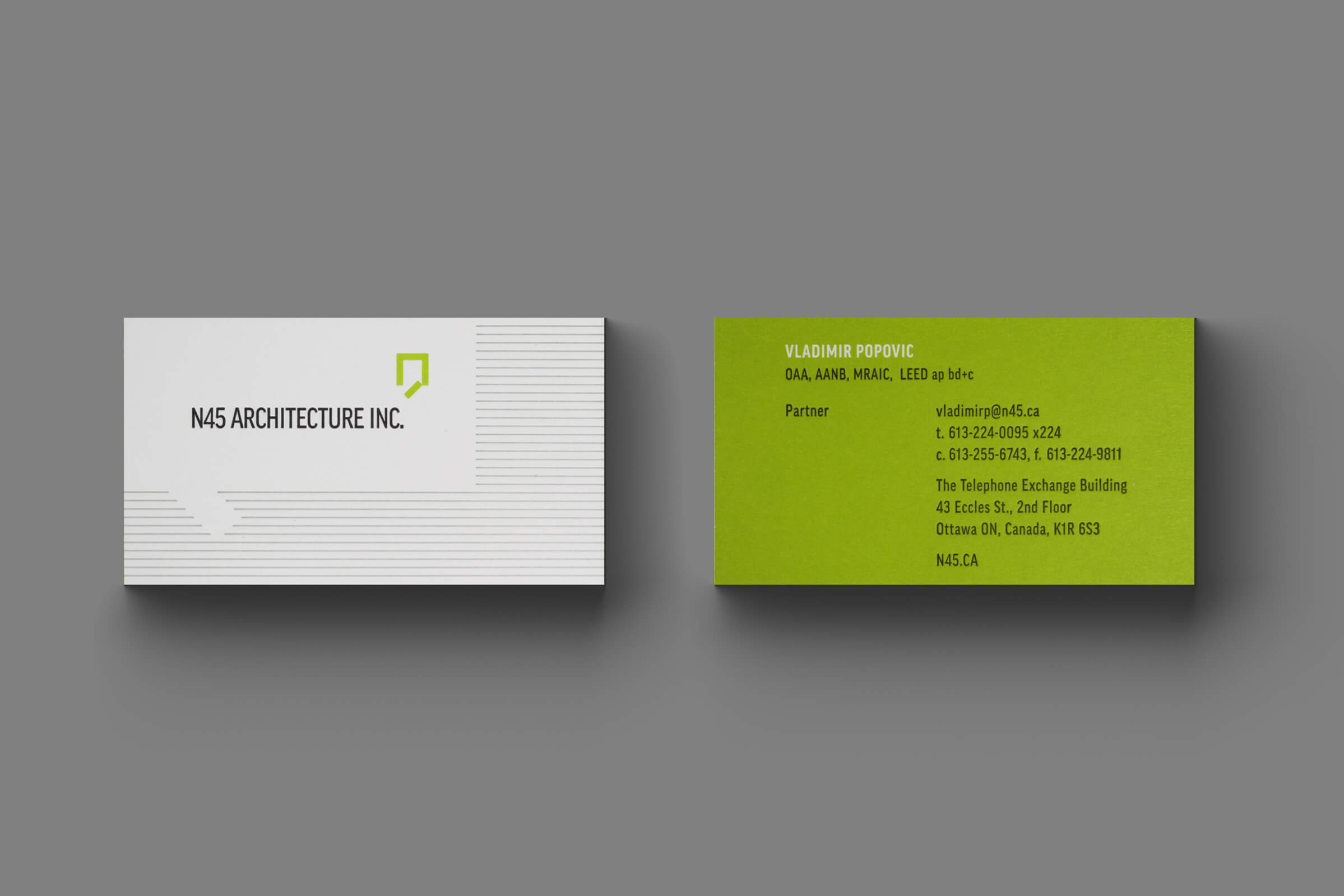 Letterpress Business Card for N45 Architecture Inc., architects by Graphic Designer idApostle