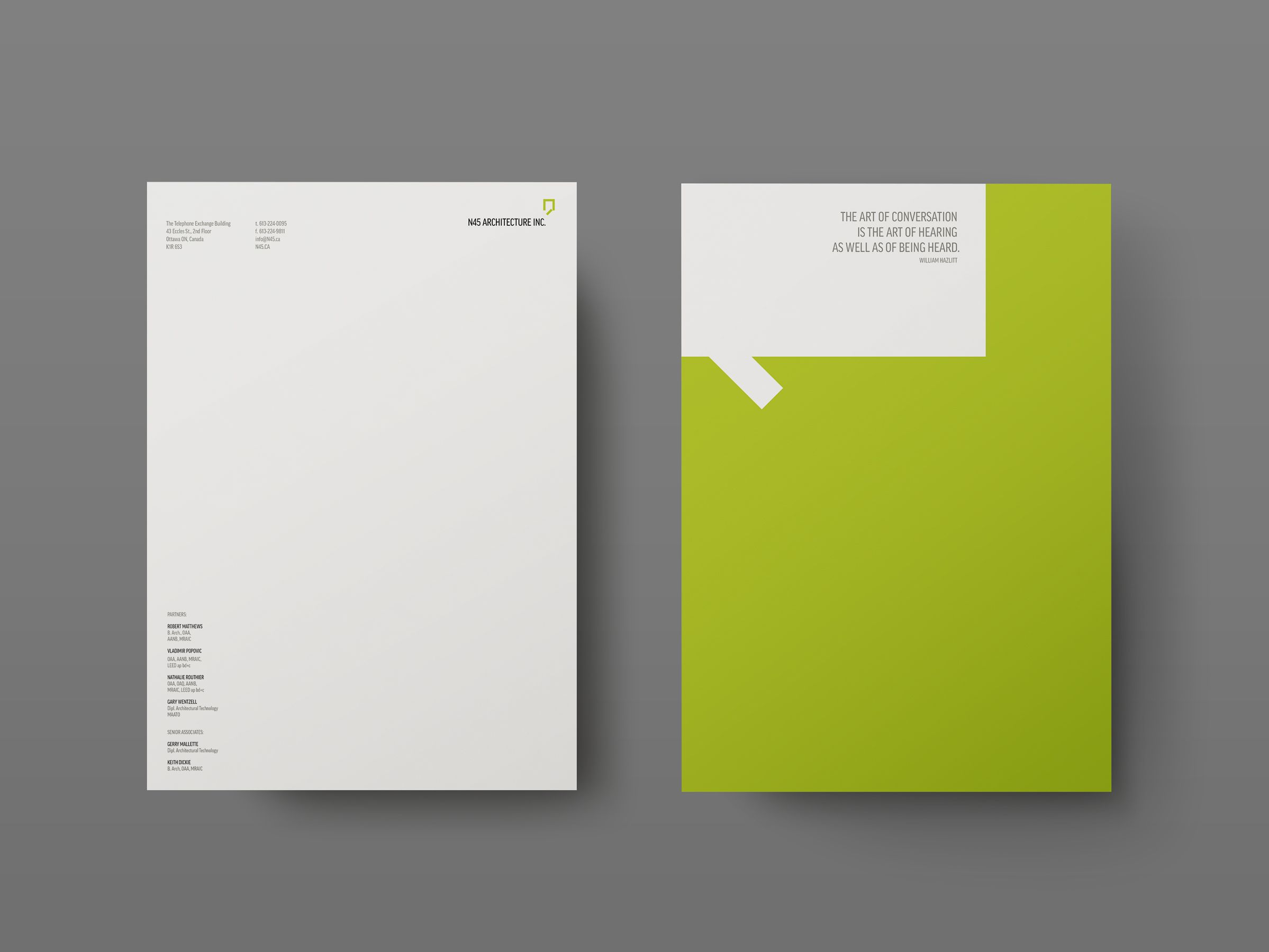Letterhead for N45 Architecture Inc., architects by Graphic Designer idApostle