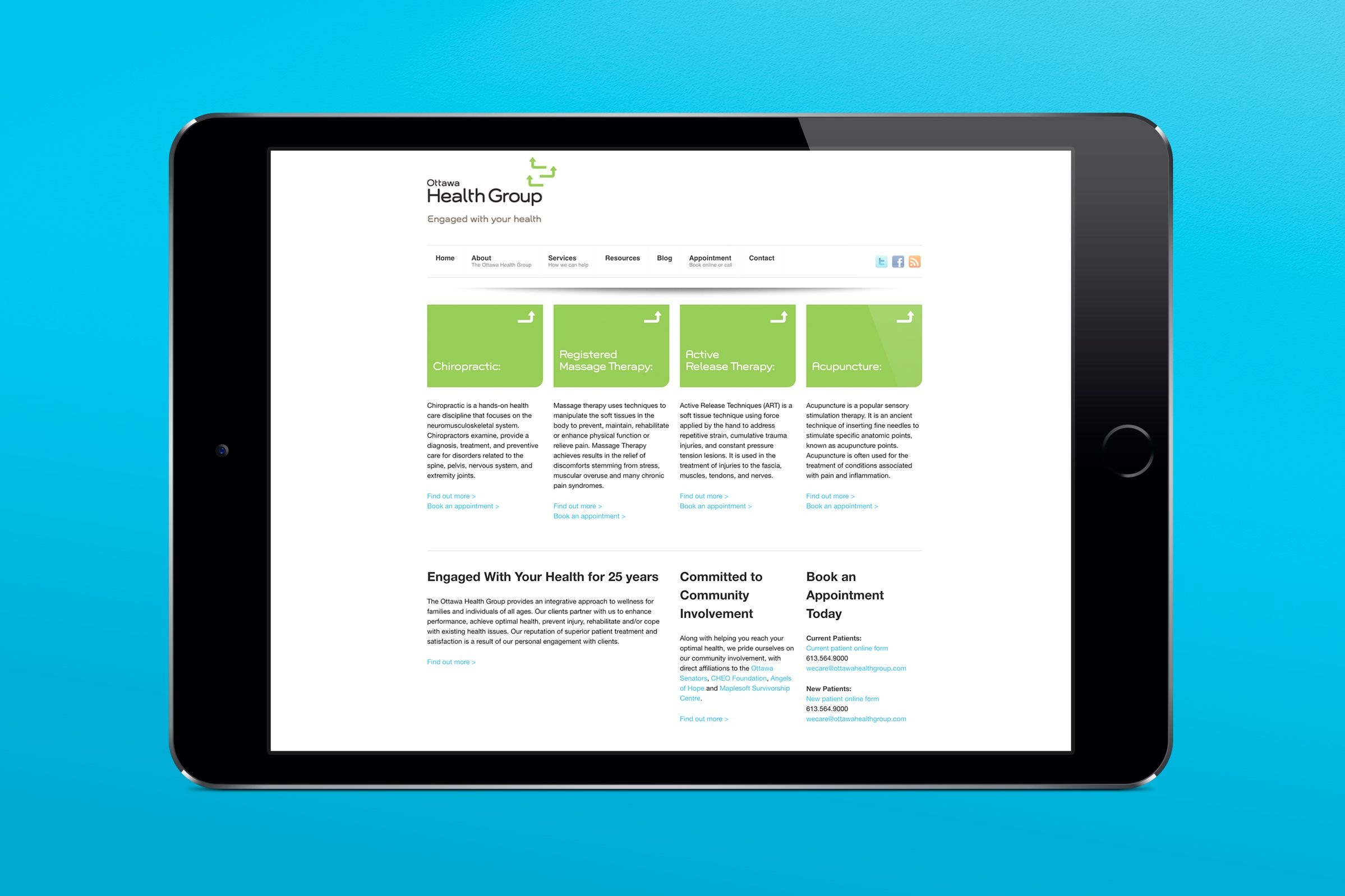 Website for Ottawa Health Group, a health care provider by Graphic Designer idApostle
