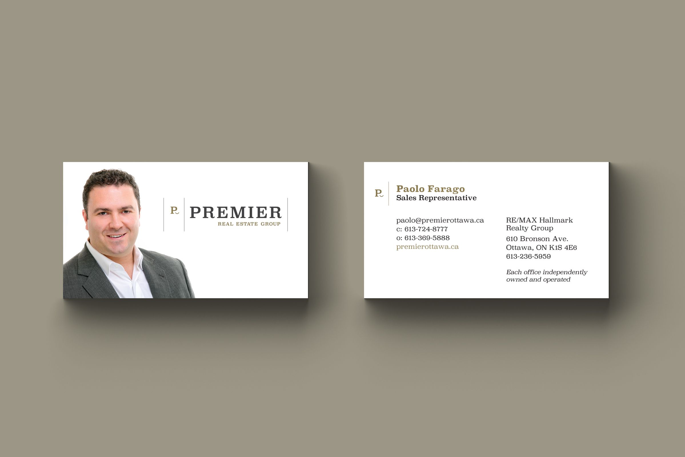 Business Card for Premier Real Estate, a realtor by Ottawa Graphic Designer idApostle