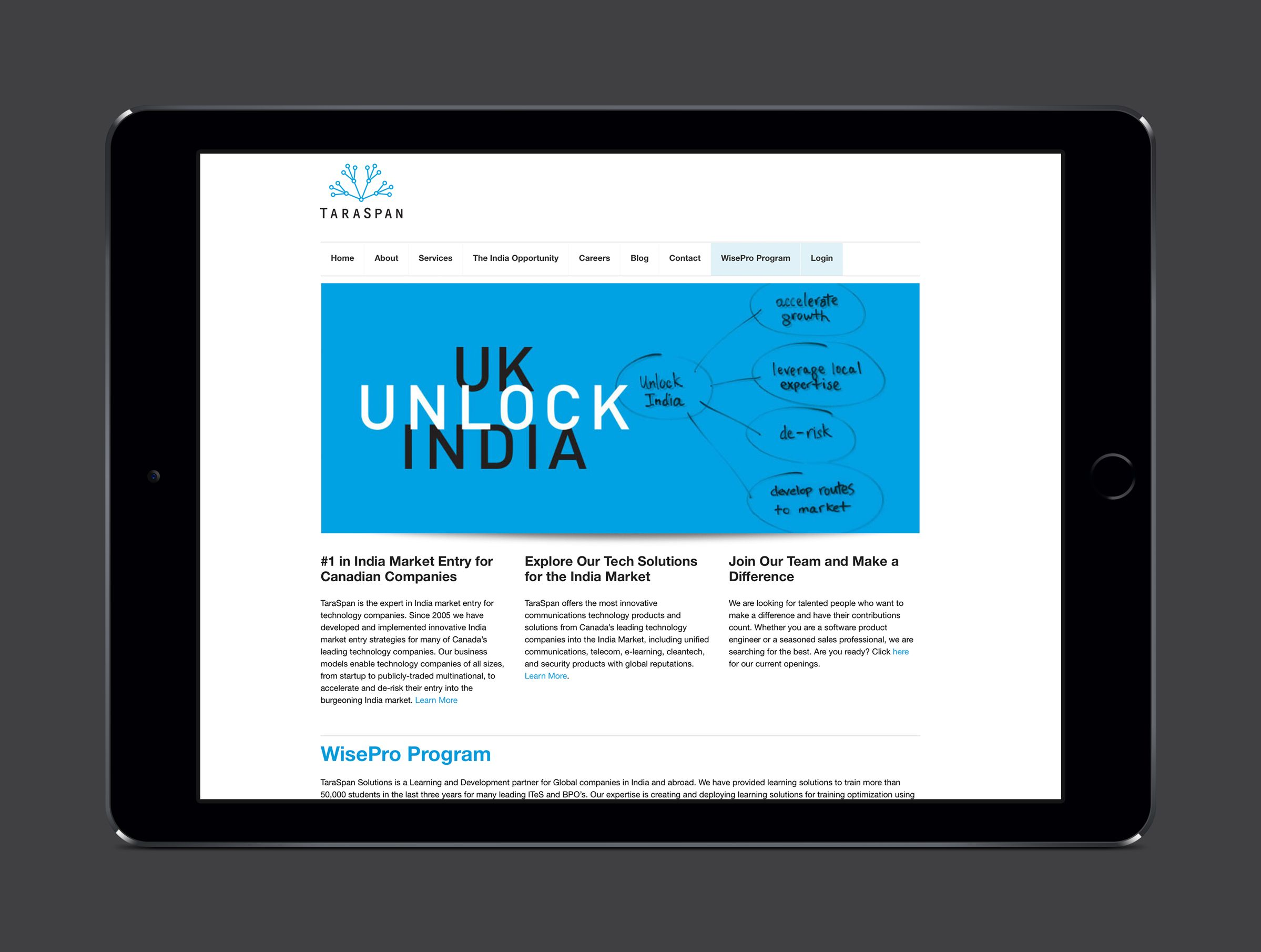 Website for TaraSpan Group, India Business Accelerator by Ottawa Graphic Designer idApostle