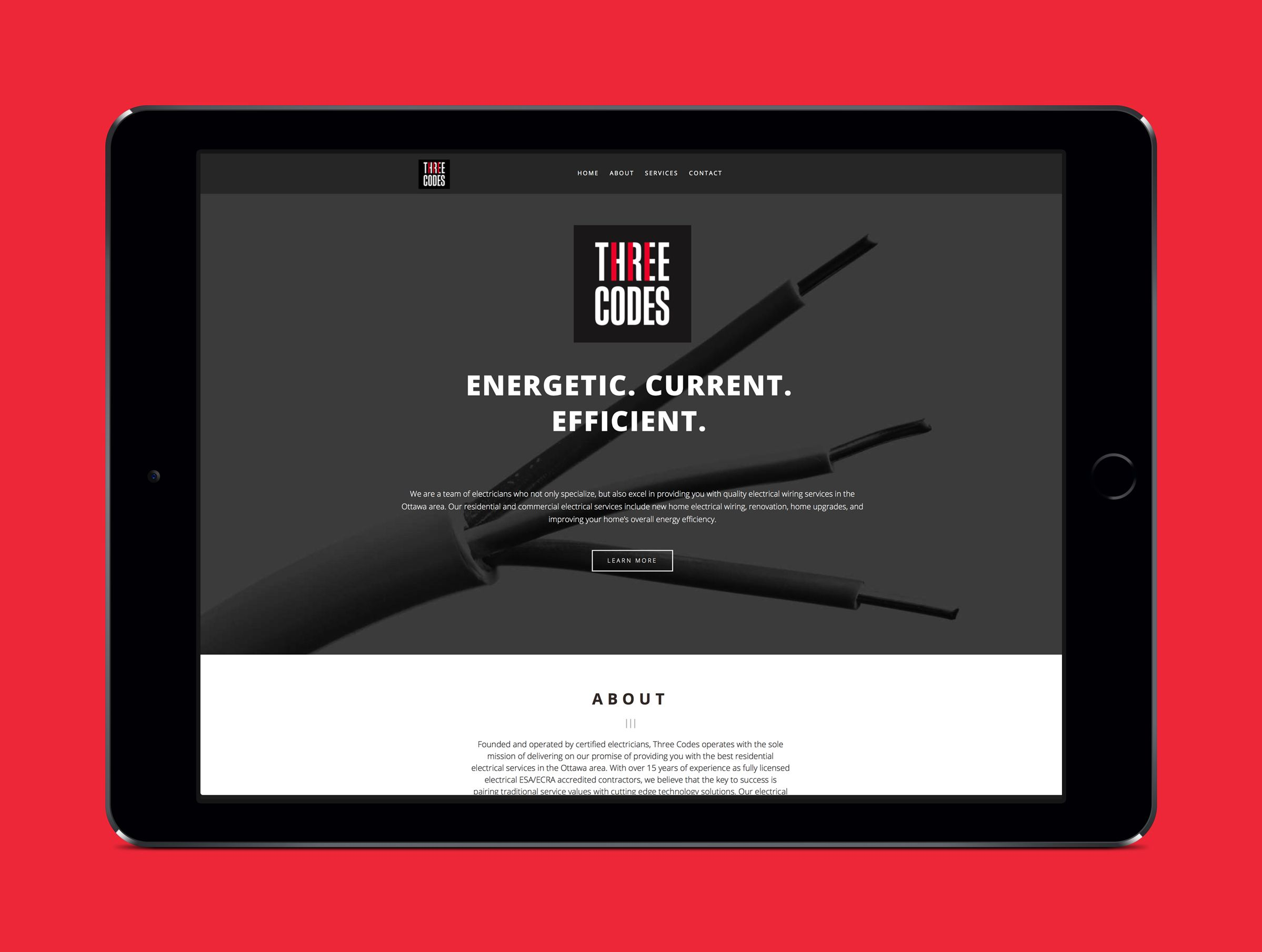Website for Three Codes, an electrical company by Ottawa Graphic Designer idApostle