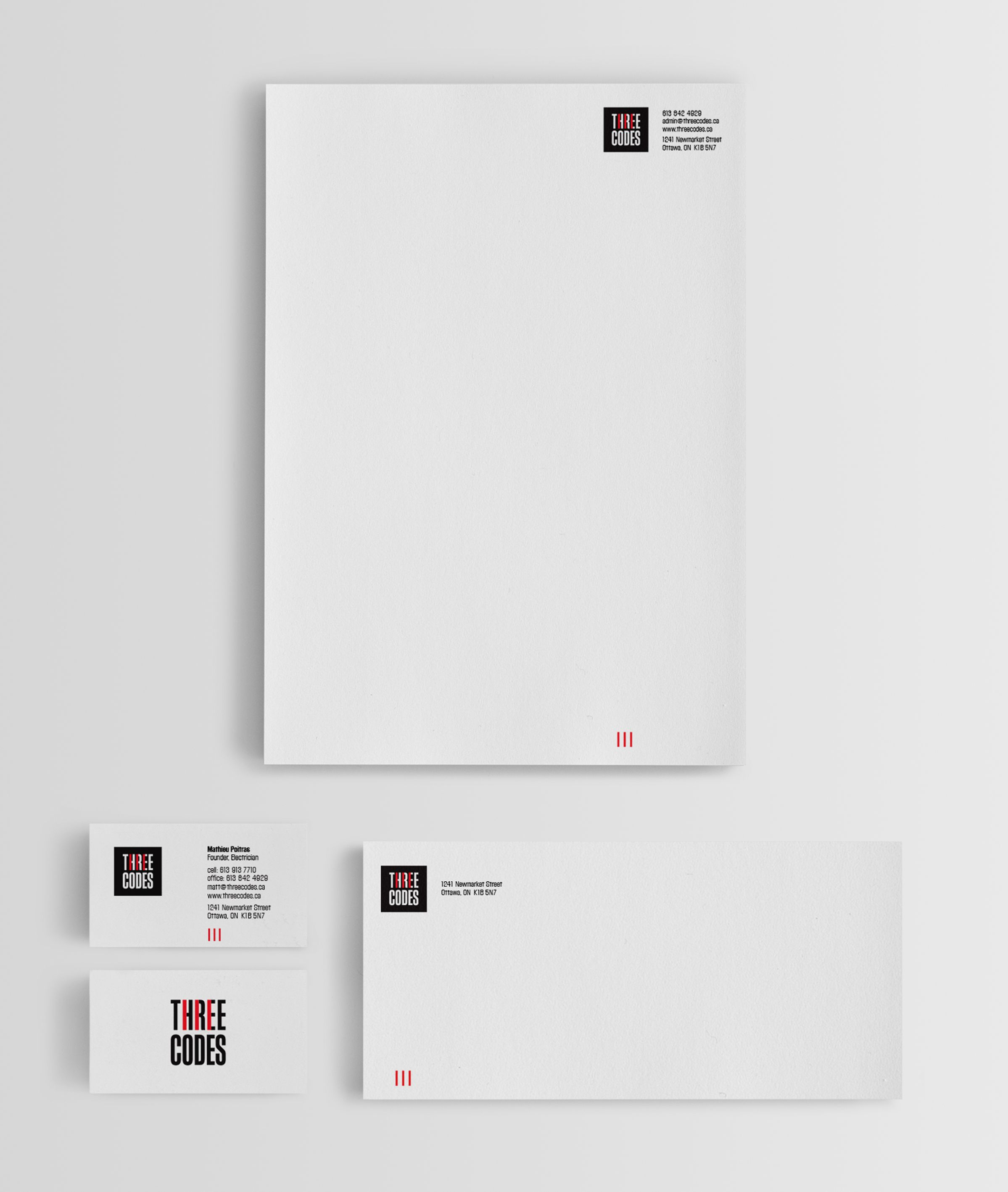 Stationery for Three Codes, an electrical company by Ottawa Graphic Designer idApostle