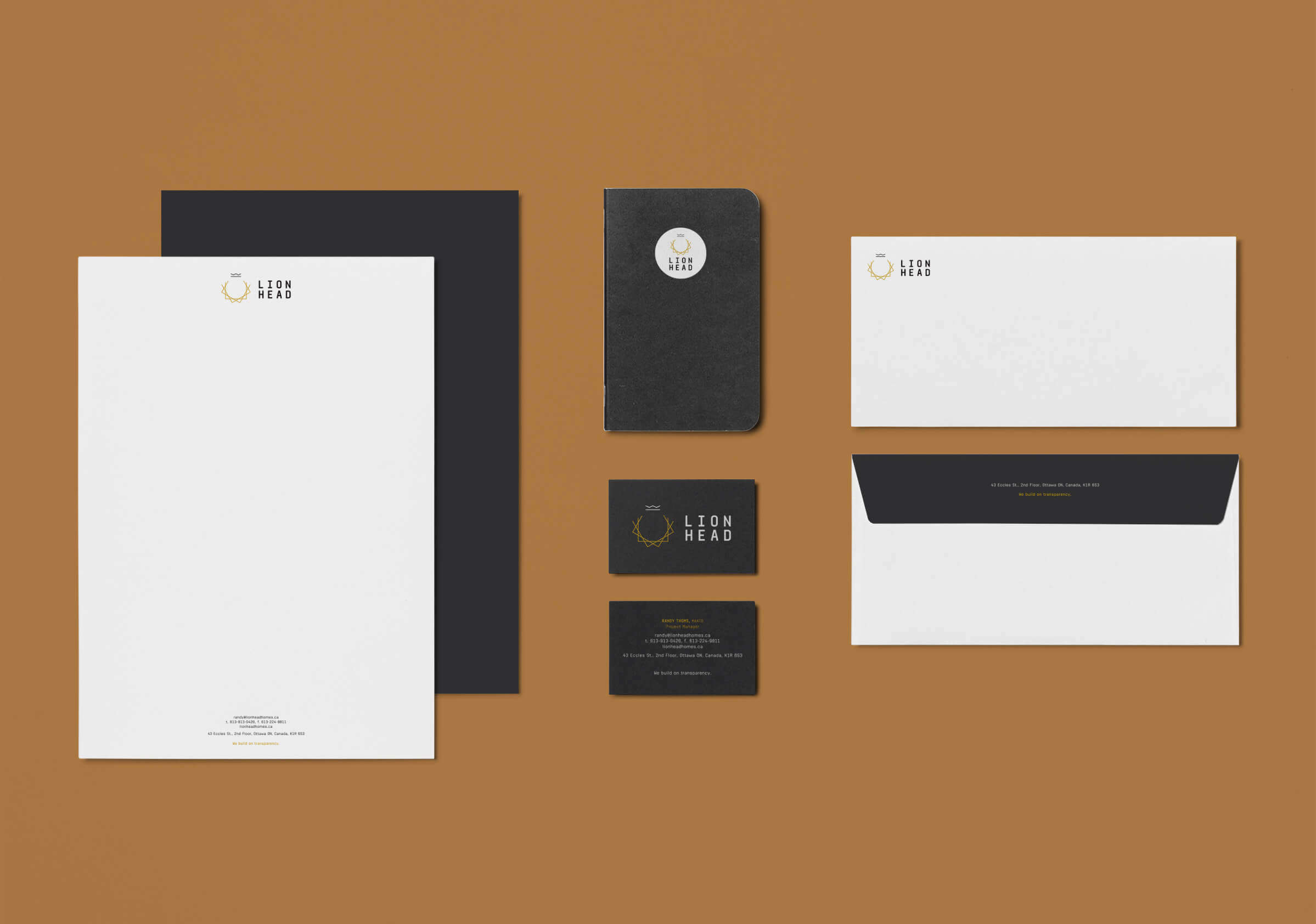 Stationery for Lionhead, an Ottawa building firm by Graphic Design Studio idApostle