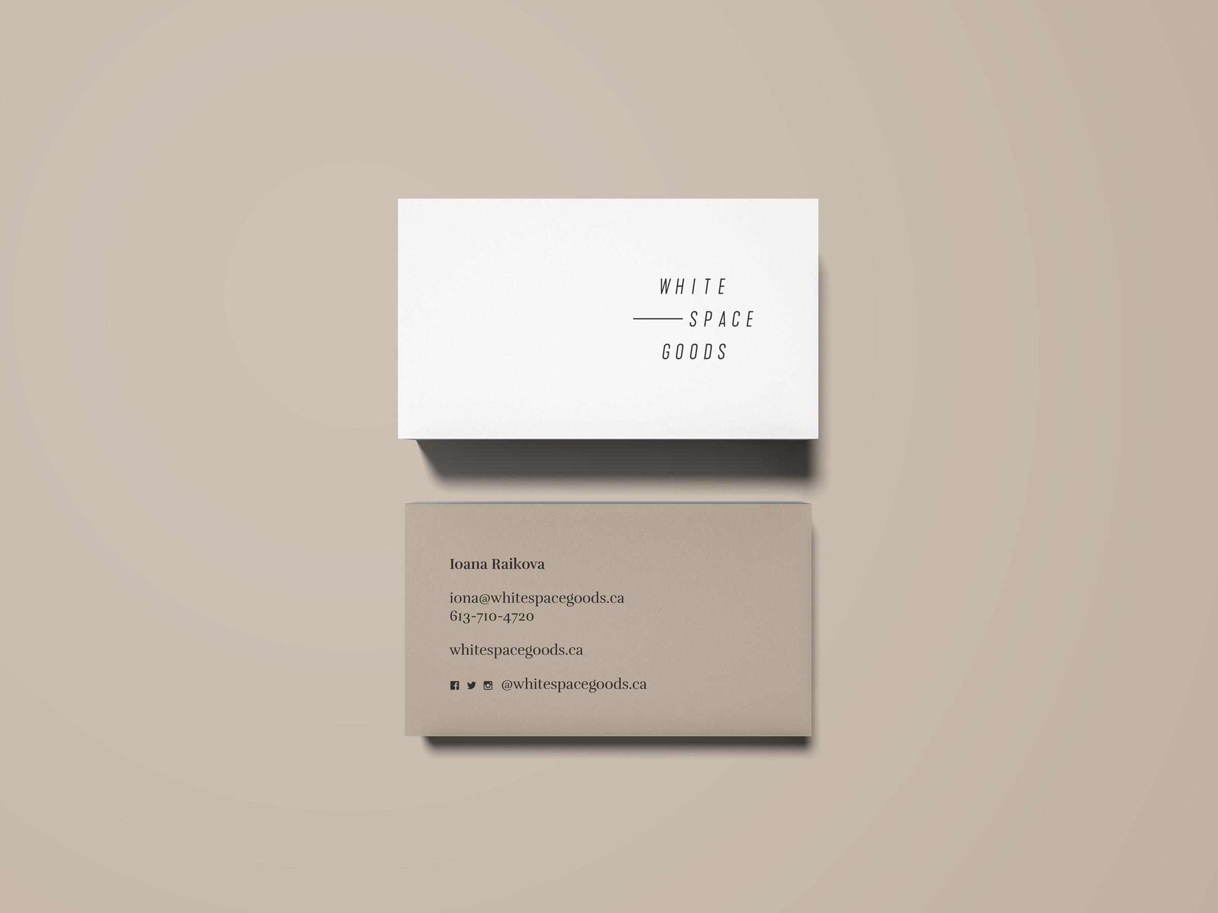 Whitespace Goods business cards for Ottawa-based handmade knitware and decor by graphic designer idApostle