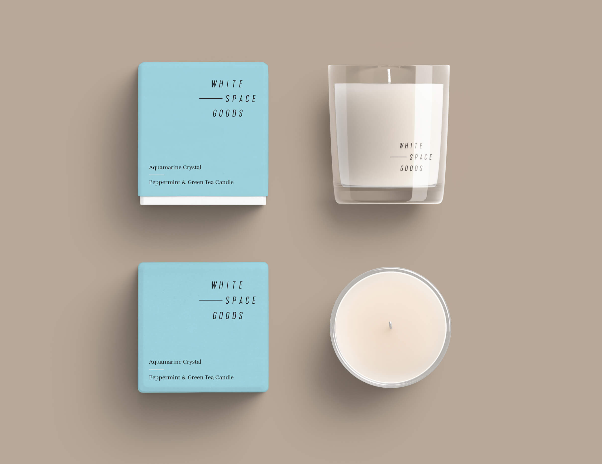 Whitespace Goods candle packaging for Ottawa-based handmade knitware and decor by graphic designer idApostle