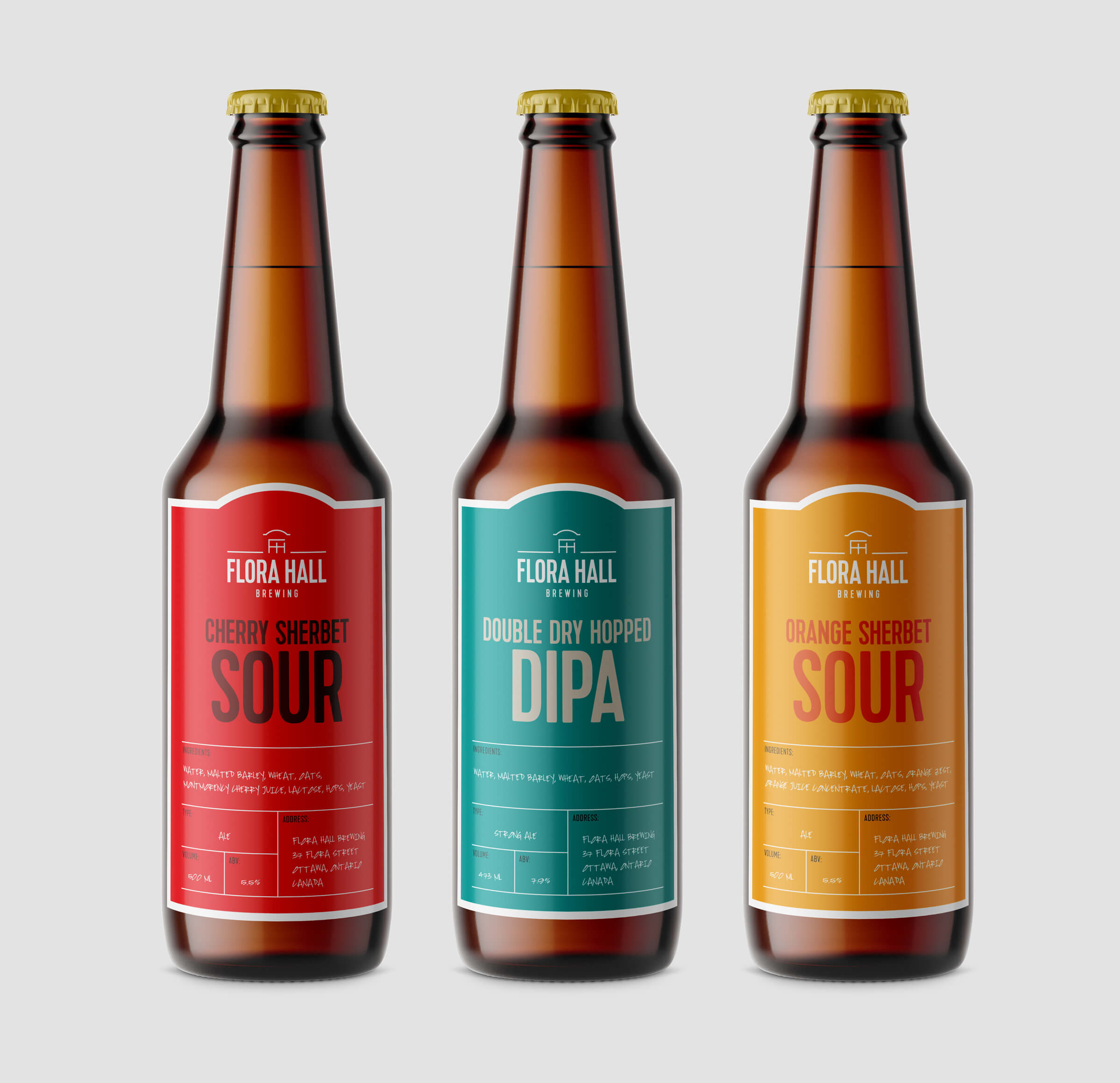 Flora Hall Brewing beer label packaging by Ottawa graphic designer idApostle