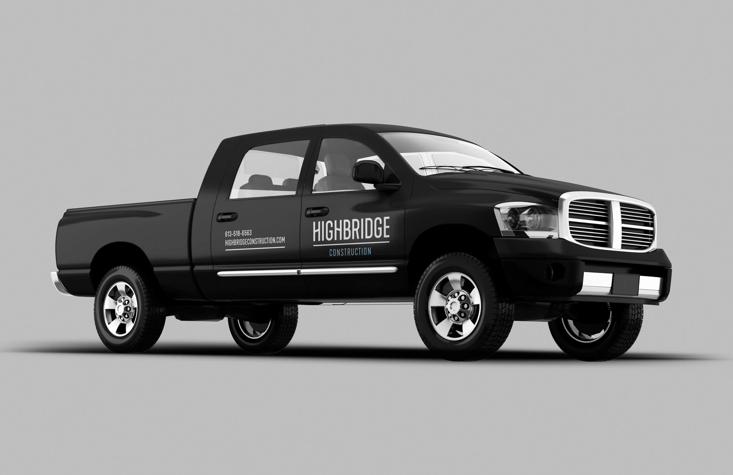 Highbridge Construction vehicle wrap for Ottawa-based general contractor by graphic designer idApostle