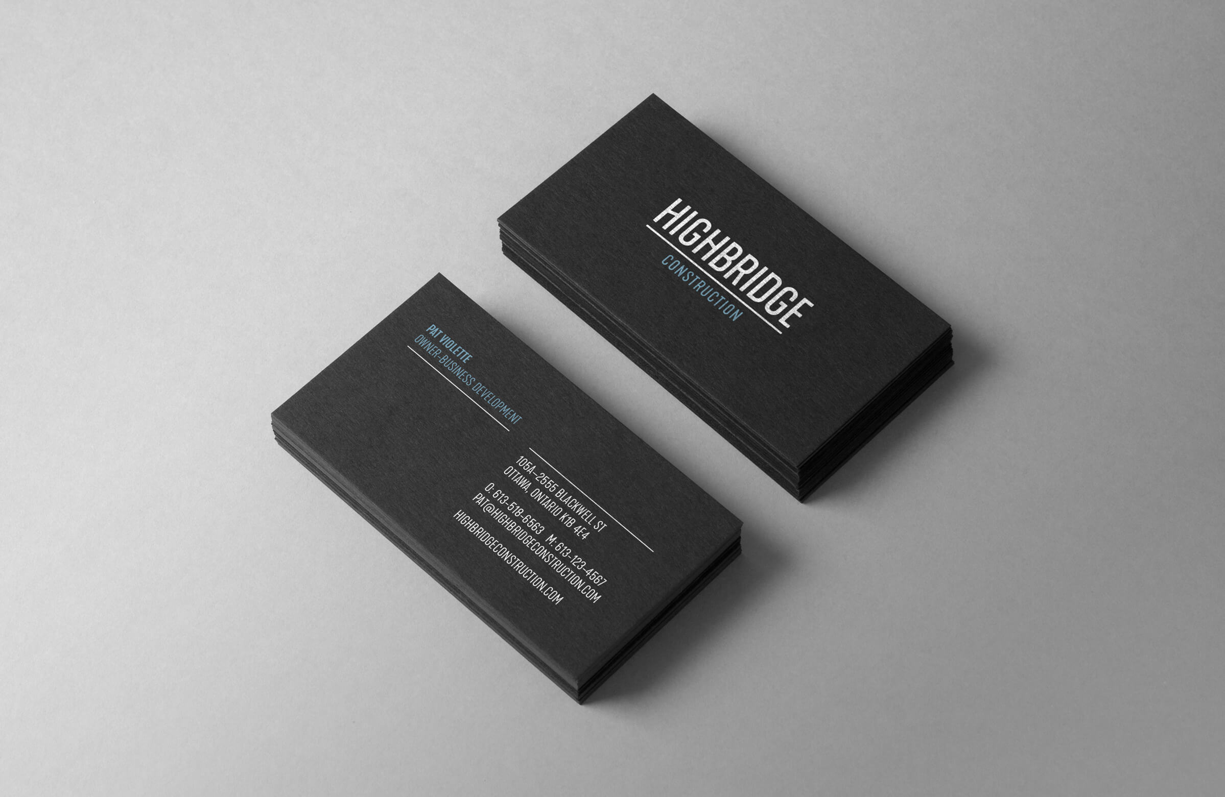 Highbridge Construction business cards for Ottawa-based general contractor by graphic designer idApostle