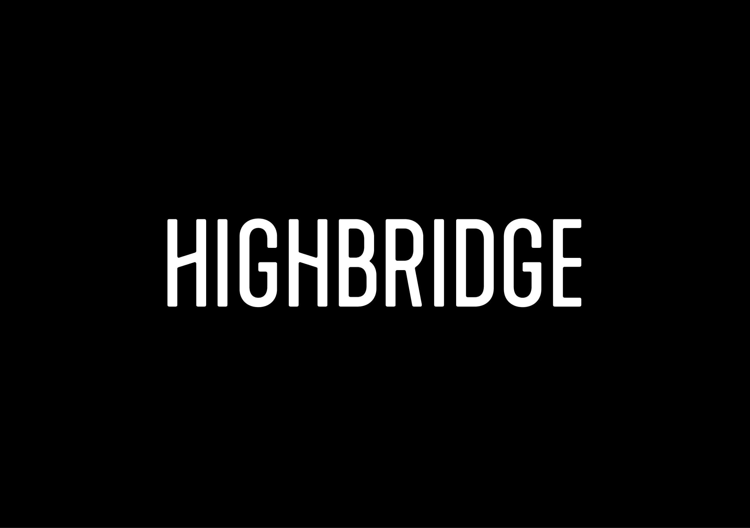 Highbridge Construction logo reversed for Ottawa-based general contractor by graphic designer idApostle