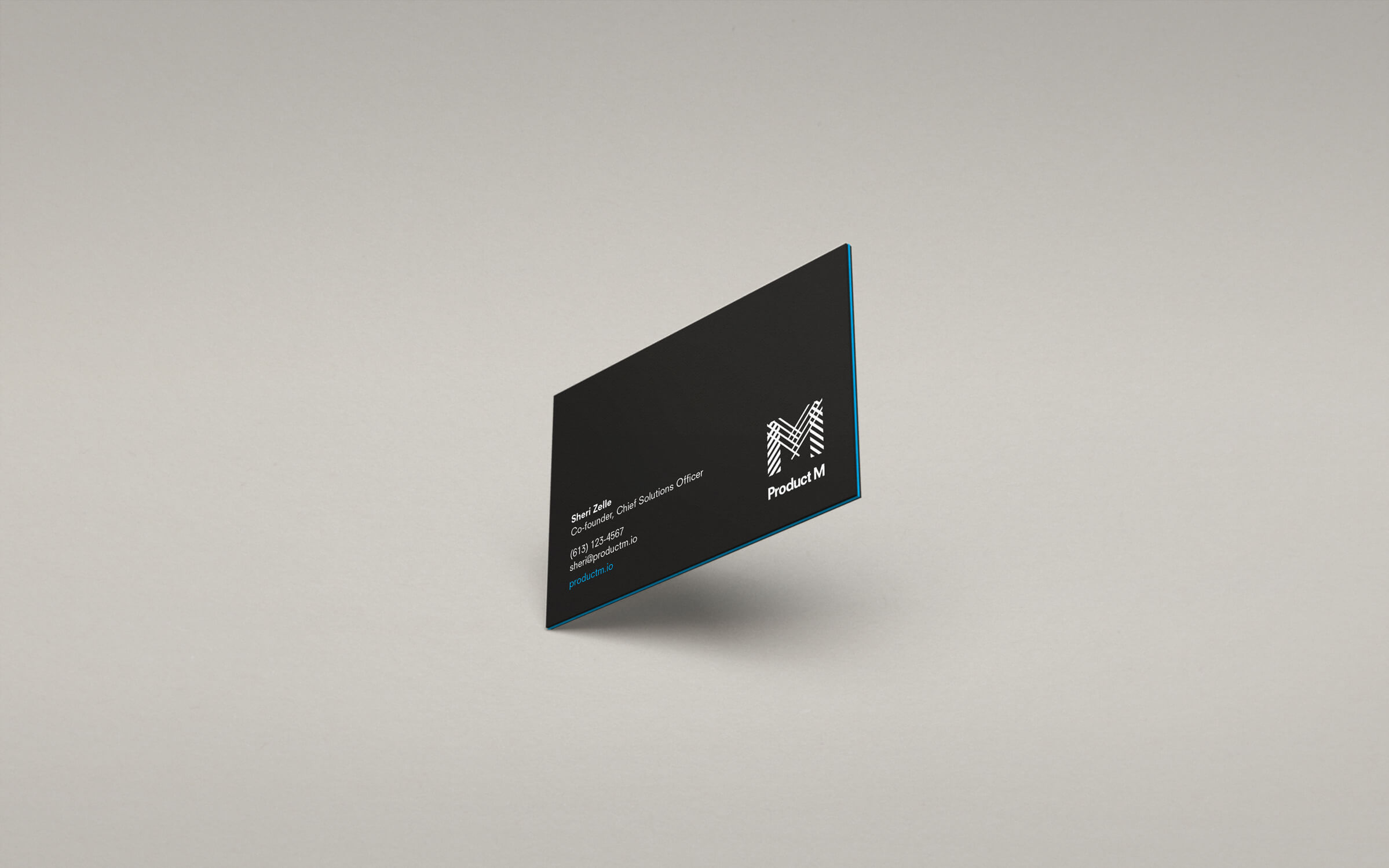 Product M business card for New York-based product marketing company by Ottawa graphic designer idApostle